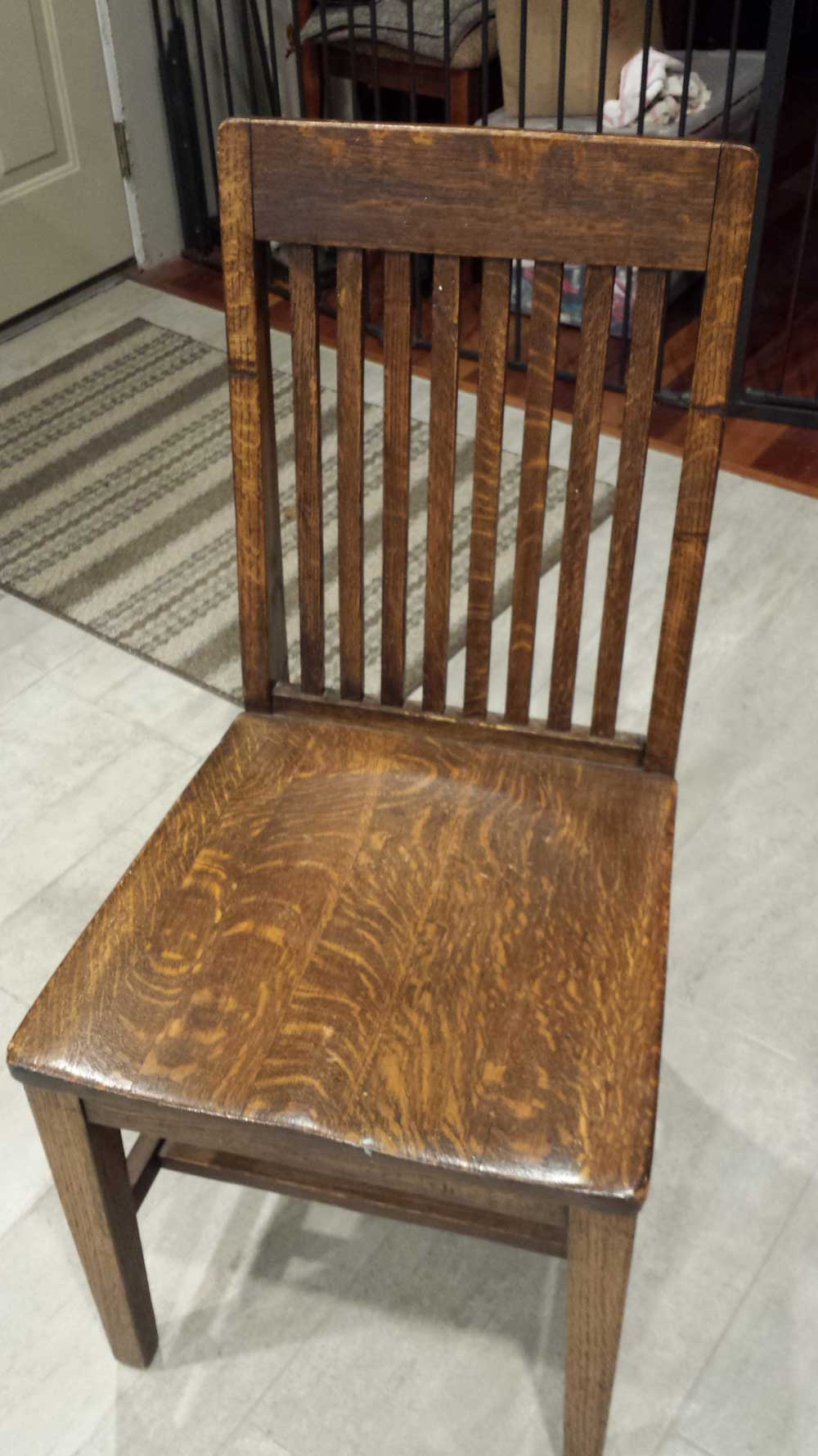 (4) Tiger Oak Chairs From W.h. Gunlocke Chair Company